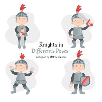 Pack de niño con armadura en diferentes posturas