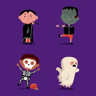 Pack de niños de halloween de diseño plano