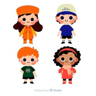 Pack niños kawai dibujados a mano