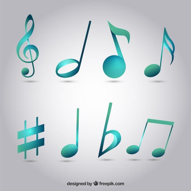 Pack de notas musicales de color azul