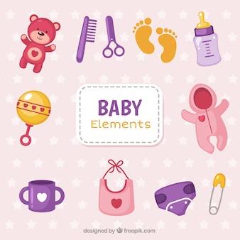 Pack de objetos de bebés coloridos