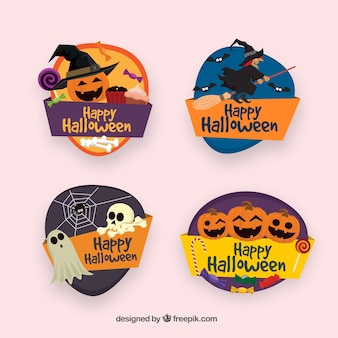 Pack of colorful halloween badges