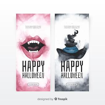 Pack original de banners de halloween en acuarela