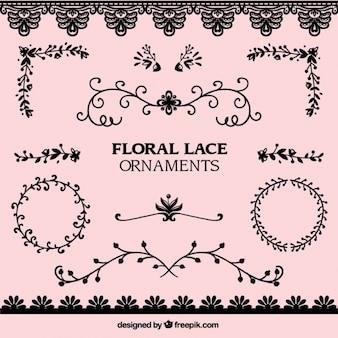 Pack de ornamentos florales de encaje