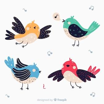 Pack de pájaros dibujados a mano.