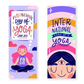 Pack de pancartas con el día internacional del yoga