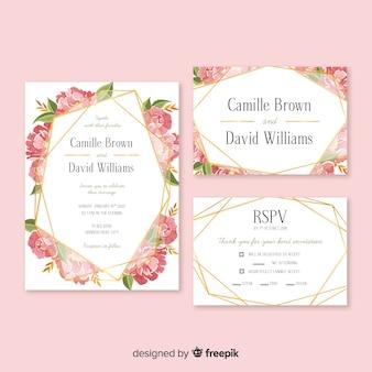 Pack papelería de boda floral dibujado a mano