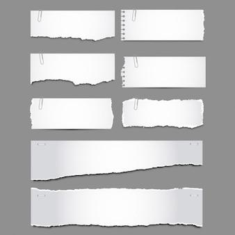 Pack de papeles rasgados con clips