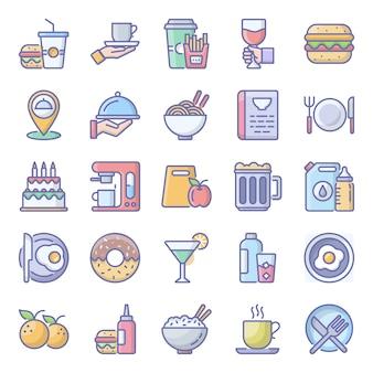 Pack de paquete de iconos planos de alimentos