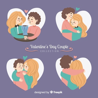 Pack pareja san valentín dibujada a mano