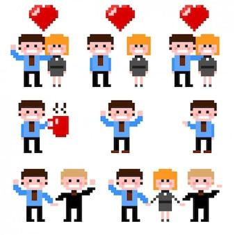 Pack de parejas de negocios pixeladas
