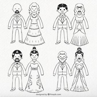 Pack de parejas de recién casados dibujados a mano
