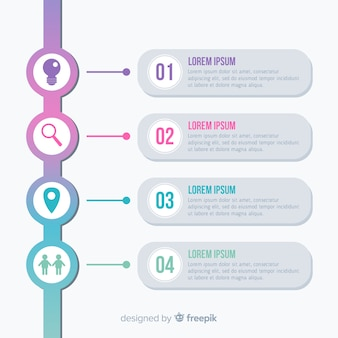 Pack de pasos de infografía coloridos