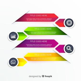 Pack de pasos de infografía diseño plano
