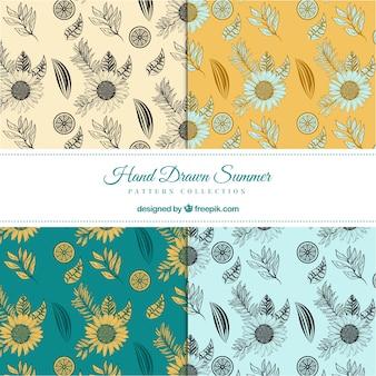 Pack de patrones de bocetos de girasoles