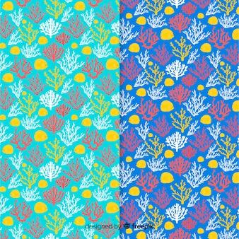 Pack patrones coral coloridos planos