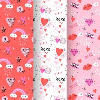 Pack de patrones dibujados a mano de san valentín