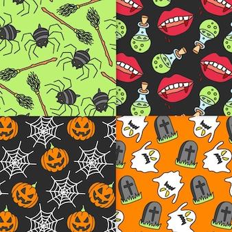 Pack de patrones de halloween dibujados a mano