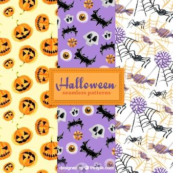 Pack de patrones de halloween con elementos de acuarela