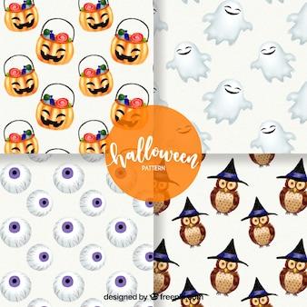 Pack de patrones de halloween con elementos simpáticos de acuarela