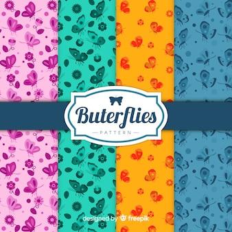 Pack patrones mariposas coloridas planas