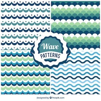 Pack de patrones con olas verdes y azules