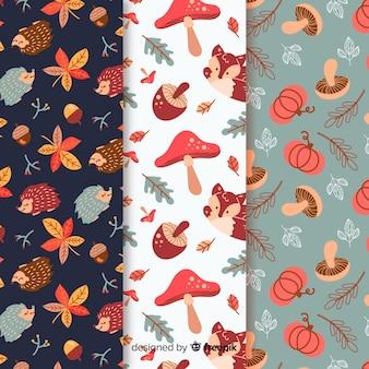 Pack de patrones de otoño dibujados a mano.