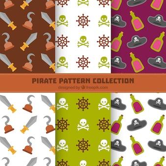 Pack de patrones de piratas en diseño plano