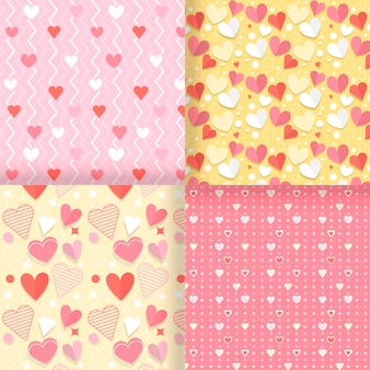 Pack de patrones planos de san valentín