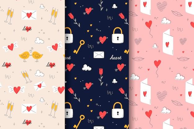 Pack de patrones de san valentín dibujados a mano