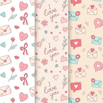 Pack de patrones de san valentín con dibujos