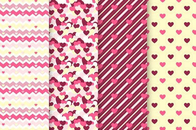 Pack de patrones de san valentín de diseño plano