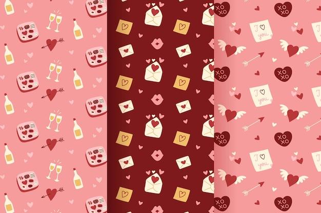 Pack de patrones de san valentín con ilustraciones