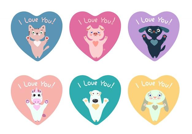 Pack de pegatinas de corazones con lindos animales para el día de san valentín.