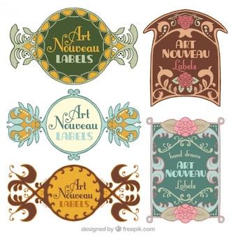 Pack de pegatinas decorativas de art nouveau