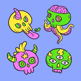 Pack de pegatinas divertidas dibujadas a mano con colores ácidos