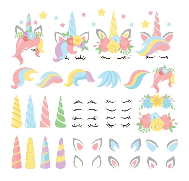 Pack de pegatinas infantiles y femeninas. caballo mágico con cuerno y rayas. pestañas, orejas, flores, estrellas.