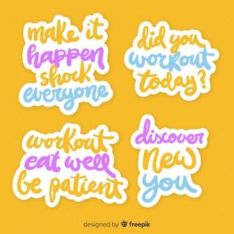 Pack de pegatinas de letras motivacionales.