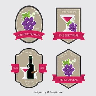 Pack de pegatinas de vino en diseño plano