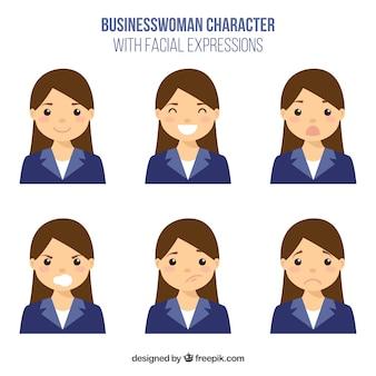 Pack de personaje de mujer de negocios plana con diferentes expresiones