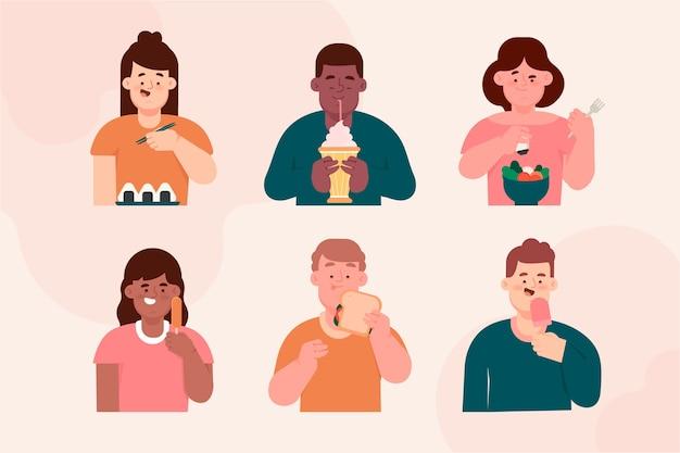 Pack de personajes con comida