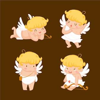 Pack de personajes de cupido dibujados a mano