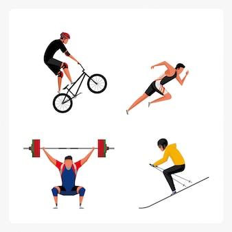 Pack de personajes deportivos en diseño plano