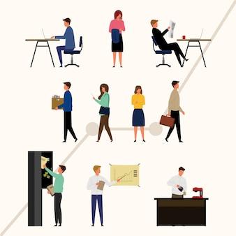 Pack de personajes emprendedores en diseño plano