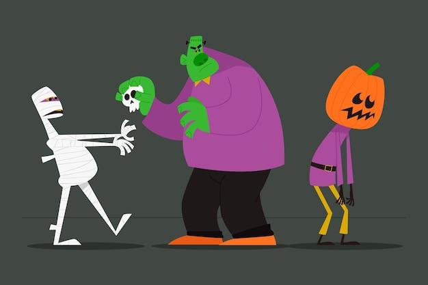 Pack de personajes de halloween con diseño de acuarela