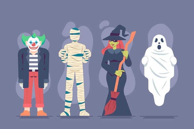 Pack de personajes de halloween de diseño plano