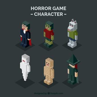 Pack de personajes de halloween isométricos