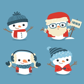 Pack de personajes de muñeco de nieve plano