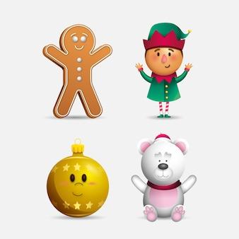 Pack de personajes de navidad de dibujos animados realistas