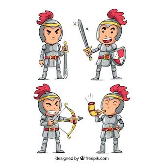 Pack de personajes simpáticos de caballero dibujados a mano